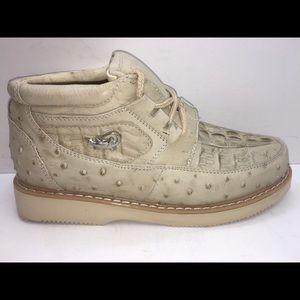 Men's Crocodile/Ostrich Print Leather Shoes
